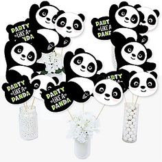 Party Like a Panda Bear - Party Theme Panda Themed Party, Bear Party, Baby Shower Themes, Baby Shower Decorations, Shower Ideas, Panda Candy, Party Photo Frame, Panda Birthday, Party Props