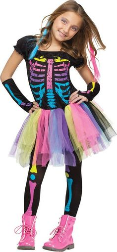 girl's costume: funky punky bones-small