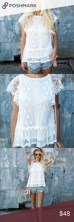 FINAL {Vici Dolls} Lacey Pom Blouse This Lacey Pom Blouse is so festive and feminine in this white lace silhouette. The pom poms along the neckline and peplum keep this top trendy and perfect for your next vacay. Wear this top casually with cut offs or with colored pants! Fully Lined  c o n t e n t + 80% cotton | 20% nylon   c o l o r + White  m e a s u r e m e n t s ✂️ +  coming soon    p a i r  w i t h   + Rag & Bone Skinny  + Hooded Blazer  bundle for a discount Vici Dolls Tops