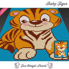 Baby Tiger crochet blanket pattern; c2c, knitting, cross stitch graph; pdf download; no written counts or row-by-row instructions by TwoMagicPixels, $3.79 USD