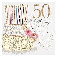 Do 50 things to celebrate your 50th birthday big thing grateful buy portfolio cake 50th birthday card online at johnlewis stopboris Image collections