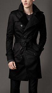 4/10 gabardina en negro más original #summerstyle #moda #hombre #imagen MID-LENGTH COTTON BLEND TRENCH COAT