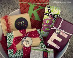 using letters as gift tags - I've done this the last 2 years for Christmas, LOVE IT!