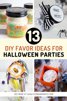 Make sure your party guests know you're grateful for their presence with these 13 DIY Favor Ideas for Halloween Parties! There's something here for kids and adults, and for any personality type. Get all of the favor ideas now at fernandmaple.com!