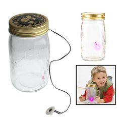 [$9.56] Sound / Touch Activated Firefly Toy with 1-LED Pink Light & Glass Storage Jar Bottle