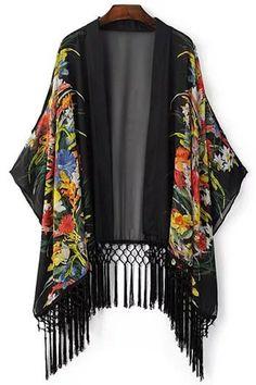 Black floral fringed kimono #style #inspiration #fashion