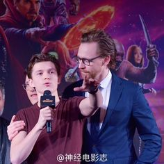 Tom Hiddleston and Tom Holland attend the press conference for Avengers: Infinity War on April 19, 2018 in Shanghai, China.
