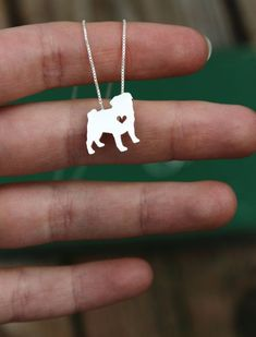 Tiny Pug necklace, sterling silver hand cut pendant and heart, tiny dog breed jewelry Tiny Dog Breeds, Pet Sitter, Body Jewelry Shop, Do It Yourself Jewelry, Cute Pugs, Tiny Heart, Pug Love, Sterling Silver Necklaces, Box Chain