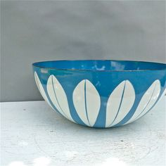 Vintage Cathrineholm White on Blue Lotus Bowl 950 by twolittleowls,