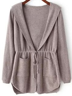 Coffee Hooded Long Sleeve Pockets Cardigan , 35% Off for 1st Sign Up