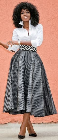 #spring #trends #fashionistas #outfitideas |White Button Down + Textured Tea Long Skirt | Style Pantry