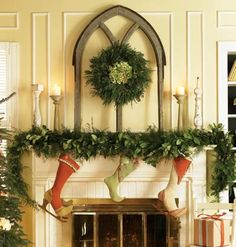 this is cute- the stockings aren't really my style, but I do like the simple greenery.