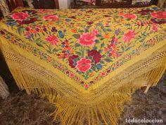 MARAVILLOSO MANTON ANTIGUO DE TULIPAN (Antigüedades - Moda - Complementos - Mujer - Mantones Antiguos)