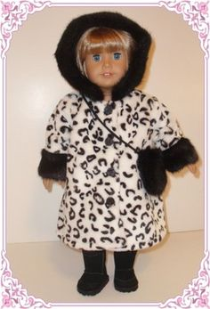 "Gorgeous Faux Fur Coat Doll Clothes Fit 18"" American Girl 