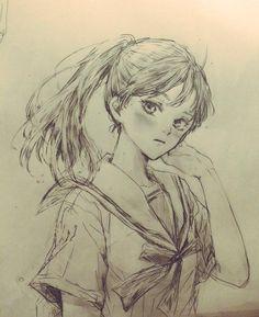 fille en uniforme sailor #Dessin de canayell0629 #Manga