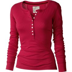 Astrid Henley T-Shirt Henley Shirts, Shirt Blouses, Henley Top, Red Button Down Shirt, Red Shirt, Runners Outfit, Red Long Sleeve Shirt, Shirt Outfit, Casual Outfits