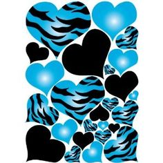 Cool blue and black heart stickers