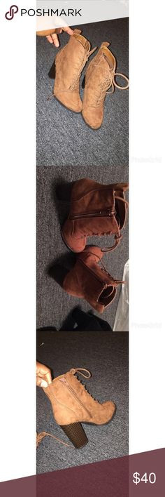 Express Chestnut heeled booties 😈 Pretty chestnut Tan colored High boot. Very comfy pretty high but they're so cute and can pair with anything . I've never worn them as well Express Shoes Heeled Boots