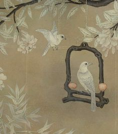 hand painted wallpaper :: chinoiserie wallpaper :: silk wallpaper :: chinese…
