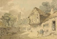 Joseph Mallord William Turner 'Castle and Old Houses', c.1794–6 - Watercolour and graphite on paper -  Dimensions Support: 208 x 259 mm - © The British Museum
