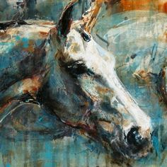 #Horse Art: The noble horse and his alter ego by Nina Smart (Acrylic on Canvas) http://dunway.us