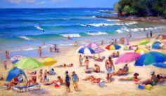 Christine Clark Wonderful long lazy beaches, rivers and waterways. Clark Art, Vibrant Colors, Colours, Pastel Art, Figure Painting, Seaside, Beach Mat, Outdoor Blanket, Scene