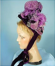 c. 1893 Mme. HOWARD, 6 Beacon Street, Boston Plum Velvet Cut Steel Ostrich Feather Bonnet