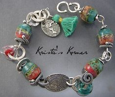 PMC Recycled Fine Silver and Boro Lampwork Tassel by kristaskorner