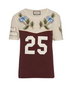 Cotton-jersey stud-embellished T-shirt 4182630f7af