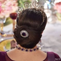 Showy hairstyle of Crown Princess Victoria at Nobel Prize ceremony 2015. (The Princess was not able to attend the 2013 Nobel Prize ceremony).