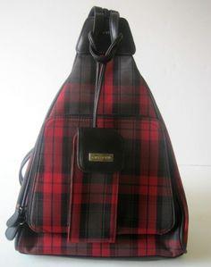 Liz Claiborne Villager Handbag Backpack Purse Red Gingham Pattern w Cell Case