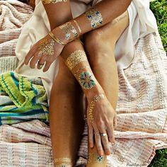 ISABELLA - Floral & Gold Metallic Temporary Tattoos - Flash Tattoos