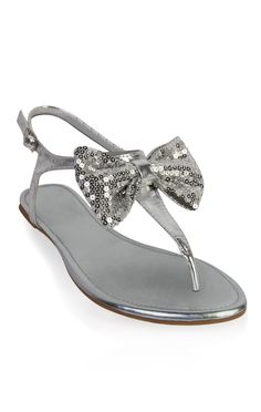 Deb Shops metallic sandal with #sequin #bow