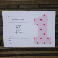 First birthday pink invitations - $12.95 for a pack of 10