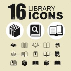 Library icons by Kurdanfell 16 Library icons. EPS AI 10 and JPEG files. Library Icon, Business Icon, Icon Set, Textbook, Literature, Books, Pictogram, Knowledge, Objects