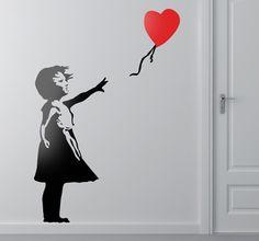 Sticker meisje met ballon Banksy hartje