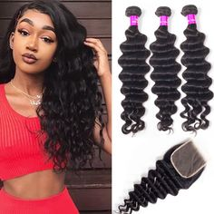"""La'Mo Hair on Instagram: """"#shepretty👸 slayed the Loose Deep Wave Bundles With 4*4 Transparent Lace Closure🔥Grab yours and get this cute style❤️ Link in the bio💕💗 • •…"""" Weave Hairstyles, Straight Hairstyles, Buy Hair Extensions, Best Virgin Hair, Virgin Hair Bundles, Waves Bundle, Remy Human Hair, Lace Closure, Lace Wigs"""