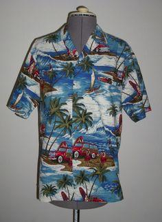 Royal Creations Hawaiian shirt S cars surfboards hula dancers Made in Hawaii #RoyalCreations