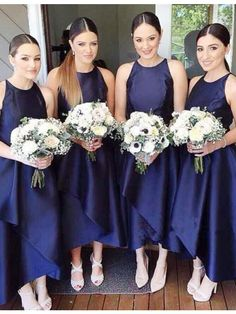 high low bridesmaid dresses,navy blue bridesmaid dresses,wedding party dresses,simple bridesmaid dresses