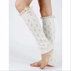White Lace & Pearl Leg Warmers