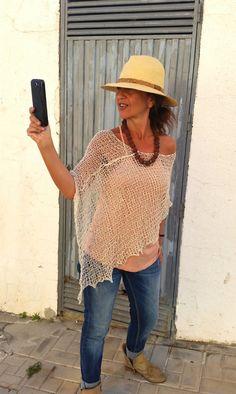 Summer cream poncho linen knit top knit cotton poncho