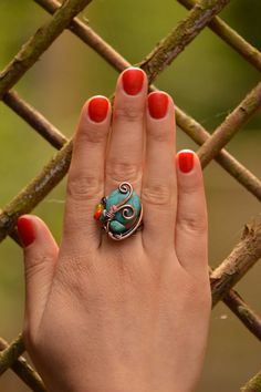 Turquoise ring - wire wrapped jewelry handmade, unique copper wire ring, copper wire jewelry for Mother's day, adjustable wire wrap ring on Etsy, $28.00