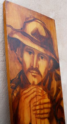 Vintage Folk Art Painting ~ Daydreaming  Man ~ signed 1968