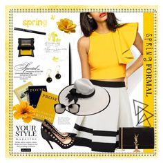 """""""Spring Formal"""" by gracijabakrac ❤ liked on Polyvore featuring Lipsy, Pussycat, Illamasqua, Looking Glass, Gianvito Rossi, Yves Saint Laurent, Linda Farrow, yellow and blouse"""