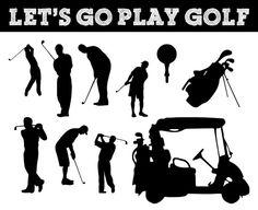 Siluetas de golf. Athletic, atleta. Bolsa de golf. Tee, carro de Golf.
