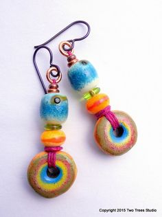 RESERVED:  Colorful and fun artisan ceramic and glass earrings.  By Two Trees Studio.