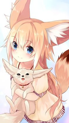 Image d'anime 1000x1770 avec original suke long hair single tall image blush looking at viewer blue eyes blonde hair smile simple background fringe animal ears standing holding tail animal tail hair between eyes hug from above