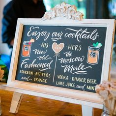 Create signature drinks inspired by both of your fave beverages. His-and-her cocktails are a fun way to personalize your wedding.
