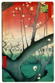 """Plum Estate, Ando Hiroshige.  Kameido 1857 (150 Kb); From """"One Hundred Famous Views of Edo""""; Woodblock print, 13 1/4 x 8 5/8 in; The Brooklyn Museum"""