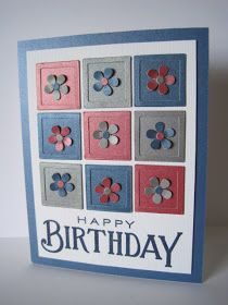 Birthday Card   squares and flowers